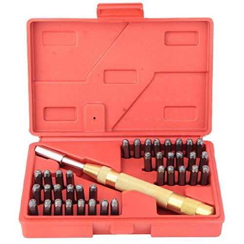 38 Stücke 3mm Stahl Anzahl Brief Stempel Set, Automatische Punch Alphabet Hand Stempel Kit Leder Stanzwerkzeug mit Aufbewahrungskoffer
