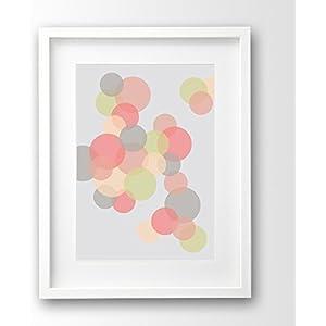 Geometrischer Kunstdruck ungerahmt, Seifenblasen Pastellfarben