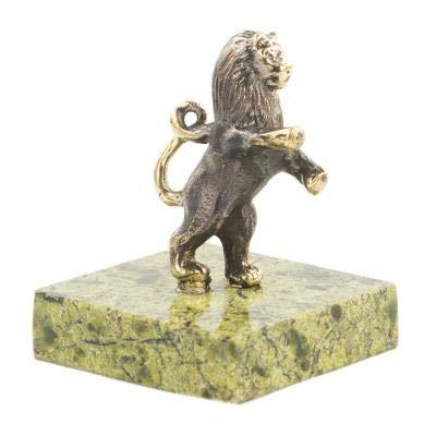 CTOC 120025 Bronzefigur Löwe auf den Hinterbeinen, handgefertigt, auf natürlichem Ural Fels, Briefbeschwerer, tolles Geschenk und Heimdekoration
