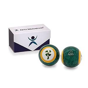 Meditation Qi-Gong-Kugel Paar mit Klangwerk | Klangkugeln | Yin Yan | Design GLÜCK KLEEBLATT | mit hochwertiger und wiederverschließbaren Aufbewahrung Magnetbox