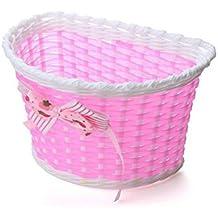 Niña de bicicleta cesta bicicleta delante cesta floral compras bicicleta cestas accesorios para niños, rosa
