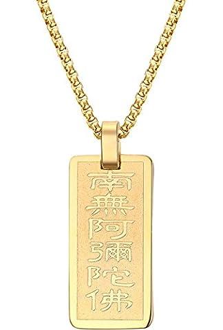 Onefeart Vergoldet Anhänger Halskette zum Damen Herren Chinesischer Stil Glücklich Anhänger Buddhistisches Mantra 30x14.5MM