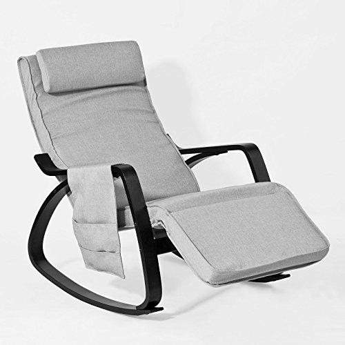 SoBuy® FST20-HG Eponge plus épais!! Fauteuil à bascule berçante relax avec pochette latérale amovible, Rocking Chair Bouleau Flexible
