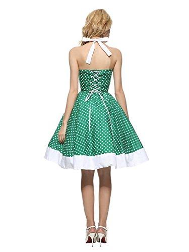iHaipi - Vintage 1950s Audrey Hepburn pin-up robe de soirée cocktail, style halter années 50 à pois (01. Small, 11. Vert Blanc Dot) 11. Vert Blanc Dot