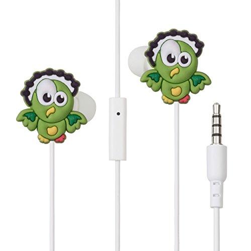 Lolachat auricolare stereo con microfono in ear. per musica e cellulare a forma di uccellino. prestazione eccellente - idea regalo da ragazza (verde)