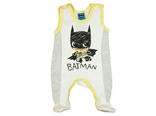 Baby-Strampler Baby-Batman mit Füßchen, WEICH GEFÜTTERT, Spiel-Anzug mit Druckknöpfen, Baby-Schlafanzug ÄRMELLOS, Grösse 50, 56, 62, 68, 74, Geschenk für Neugeborene, Frühchen Farbe Grau, Größe ()