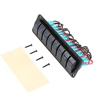 8 Switches Waterproof Car Caravan RV Rocker Switch Panel Circuit Breaker-black