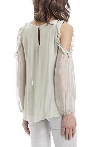 Laura Moretti - Seidenbluse mit Schulteröffnungen Grün