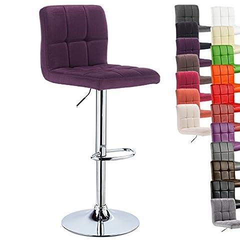 WOLTU® 1 x Barhocker Barstuhl Tresenhocker Stuhl drehbar und höhenverstellbar Tresen Hocker Leinen Lila (Stühle Lila)