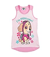 Official Paw Patrol Girls Sleeveless Summer Top, Vest, T-Shirt 100% Cotton New 2018 - Pink 6Y