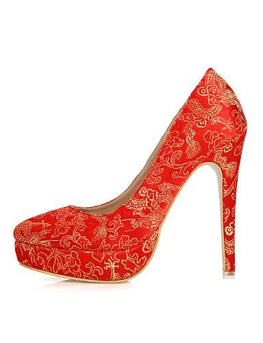WSS 2016 Chaussures Femme-Mariage / Habillé / Soirée & Evénement-Rouge-Talon Aiguille-Talons-Talons-Soie red-us8 / eu39 / uk6 / cn39