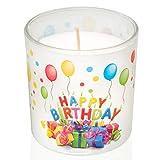 Smart Planet® Geburtstagskerze Happy Birthday Kerze im Glas - schönes Geschenk Motiv zum Geburtstag - Deko Kerzen Herzlichen Glückwunsch