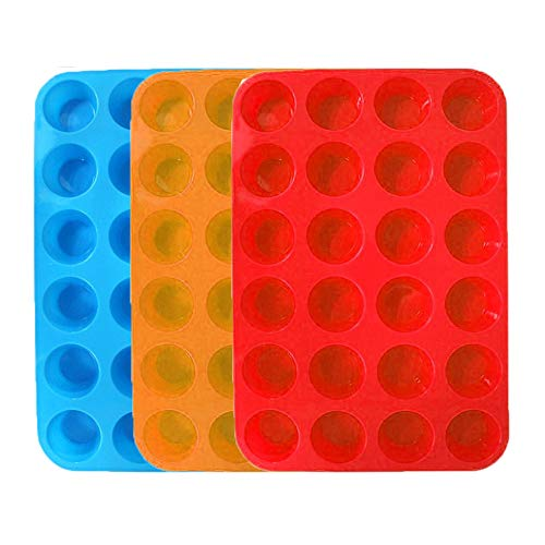 3 Paks Silikon Mini Muffinpfanne, 24 Cups Silikonform Cupcake Backform, Silikon-Muffin-Dosen Backformen. (Orange, Rot, Blau) Muffin Cupcake Pan