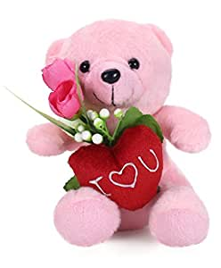 Tickles Pink Cute Teddy with Rose Stuffed Soft Plush Toy Love Girl 16 cm