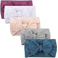 Lomsarsh Headband, 5pcs Girls Baby Toddler Bow Headband Turban Solid Hair Band Headwear Solid Color Cute Princess Hair Accessories - Multi-Color Optional
