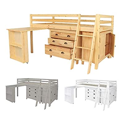 White Cabin Single Bed Midi Sleeper Bedroom Furniture With Drawers Desk and Cupboard Bunkbed Childrens Kids