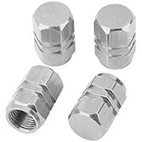 4x Tapas Tapones Válvulas Cubierta de Neumático Aluminio para LLanta de Camión Coche Color Plata
