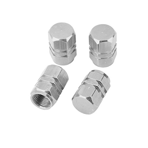 Ventilkappen Bullit, 4-Valve D Air Aluminium Kappe-Ventilsystem Reifen Auto-Silber (Aluminium-kappe)