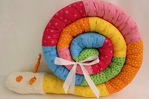 Bettschnecke 300 cm JUNIA-SHOP.de NEUES DESIGN!! Nestchen Bettrolle Bettschlange Baby Geburt Taufe Puckschnecke Bettwurm Bettumrandung kunterbunt Regenbogen 3 m