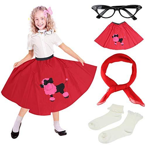0er Jahre Mädchen Kostüm Zubehör Set - Vintage Pudel Rock, Chiffon Schal, Cat Eye Brille, Bobby Socken (D-Red) ()