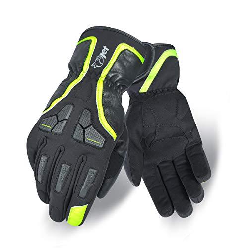 Jet Motorrad Handschuhe Winter Wasserdicht Leder Textil Knöchelschutz PROTEX (L, Schwarz)