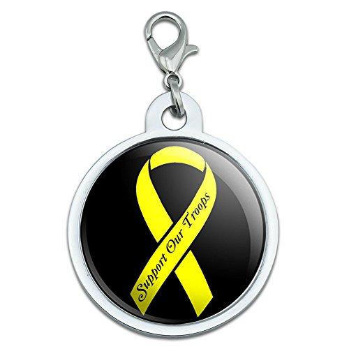 Unterstützen Unsere Truppen Band–Gelb auf Schwarz Groß verchromtem Metall Pet Dog Cat ID Tag (Truppen Dog Tag)