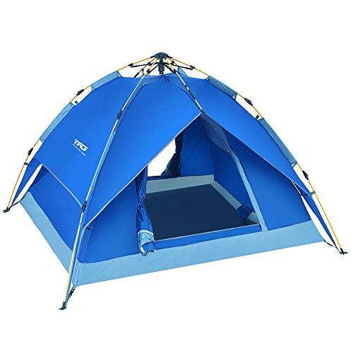Automatisches wasserdichtes Kuppelzelt 2-3 Personen Familienzelt mit Tragetasche Jahreszeit für Outdoor Sport, Klettern, Camping Blau
