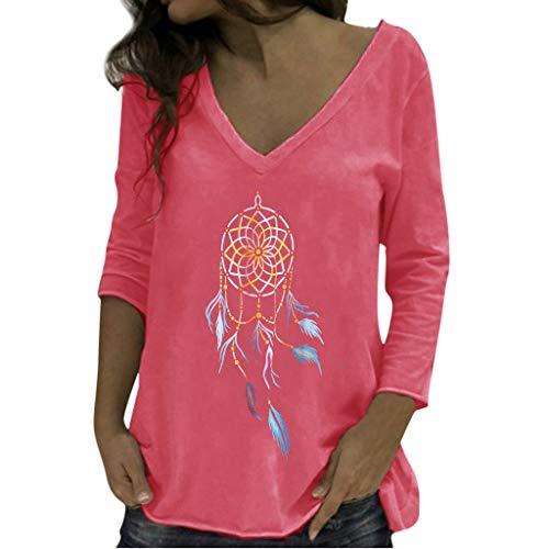 Xmiral Bluse Damen Traumfänger Drucken V-Ausschnitt Slim Fit Hemd Langarm Geraffte Pullover Hemd Sweatshirt Oberteil Tops(Rot,XL) -