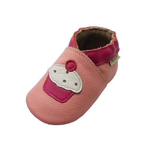 Sayoyo Karikatur Lauflernschuhe Baby Leder weiche Sohle Kugelsicherer Krippe Enfants Schuhe Rosa