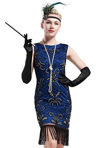 BABEYOND Damen Vintage 1920er Gatsby Kleider Perlen verziert Fransen Flapper Kleid Blau (Small, Blau und Gold)