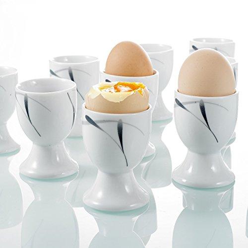 Vancasso 12pcs Coquetier en Porcelaine Blanc 5x5x7cm Design Moderne Service Petit Déjeuner