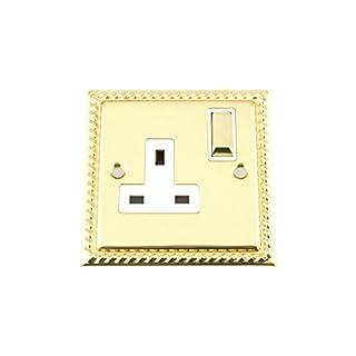 Single Plug Socket 1 Gang 13 Amp - Georgian - Polished Brass - White - Metal Rocker Switch