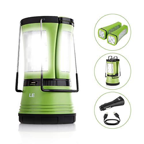 LE Lámpara de Camping LED USB Recargable, 600lm, con 2 Linternas Desmontables, Cargador mechero incluido, Resistente al agua