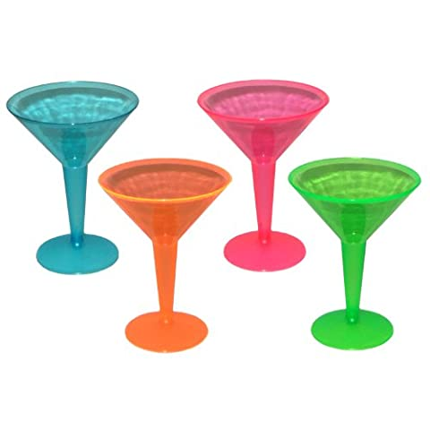Party Savvy Lot de 12 verres à martini en plastique Assortiment de couleurs fluorescentes