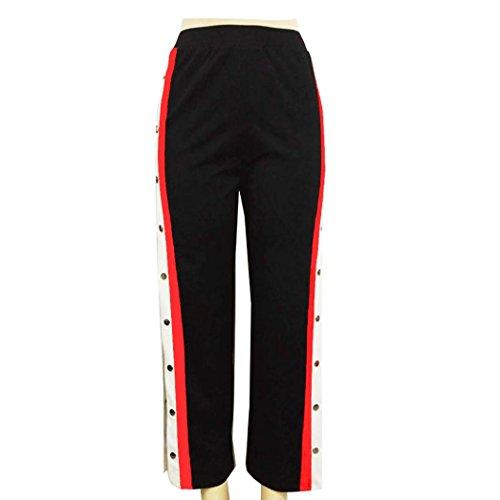 TWIFER Damen Knöpfe Hohe Taille Elegante Lange Hosen Bleistift Hose (S-5XL) (XL, Schwarz) (Stretch-blazer Nadelstreifen)