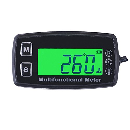Runleader RL-HM035T-TS001 Inductive tachometer with hour meter thermometer backlit display for all gasoline engine ATV UTV dirtbike motocycle PWC marine boat waterproof Oil/water/liquid temperature Test