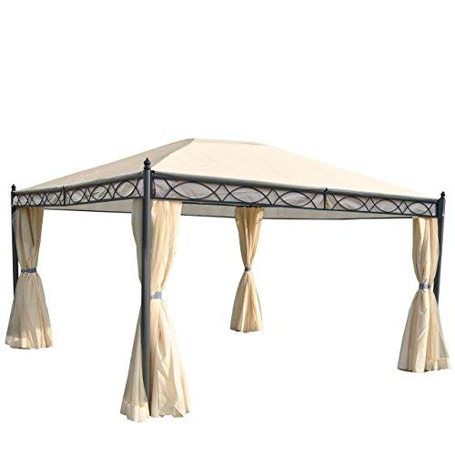 Mendler Pergola Cadiz, pavillon de Jardin, Cadre Stable à 7cm avec paroi et moustiquaire ~ crème 4x3m