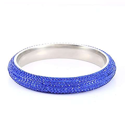 Crystal Pave Stainless Steel Bangle Full glitter with Genuine Swarovski Elements Size 209mm Blue