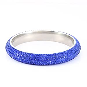 Stainless Steel Crystal bangle bracelet For Women - Blue 209mm SIZE 8 - Paved with Crystal from Swarovski Elements - Ideal for Bridal Wedding, Prom, Party