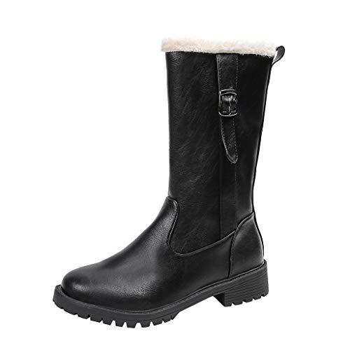 Kinlene Stivali da Donna Stivali da Neve Vintage con Cerniera Punta Tonda Stivali Tacchi Quadrati Vendita di Stivali Tinta Unita
