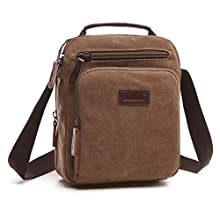 AIZBO Shoulder Bag Mens Lightweight Messenger Bag Retro Cross Body Bag Small Satchel Bag with Long Strap, Unisex Multi Purpose Canvas Man Bag Brown