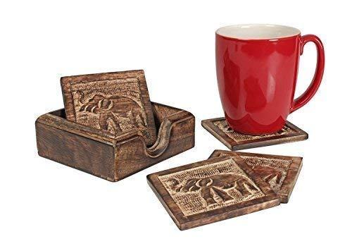 storeindya Handgemachte Set von 6 Holz untersetzer für Getränke mit Halter-Speicher-Caddy-Platz Absorbent Tee Kaffeetasse & Tassen Coaster Umweltfreundlich Antik-Design für Beschenken (Design 12)