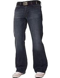FBM Jeans Pantalon Jean de Travail Bootcut Denim Bleu délavé pour Homme,  Coupe Ample, 62b115731af
