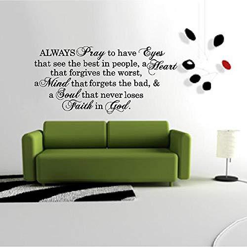 WSLIUXU Forever Pray Eyes Mind Soul Belief God Bible Introduzione Sticker Vinile Adesivo Art Lettering Grafica Adesivo murale Wall Sticker Famiglia Giardino Morbido Rosa 120x57cm