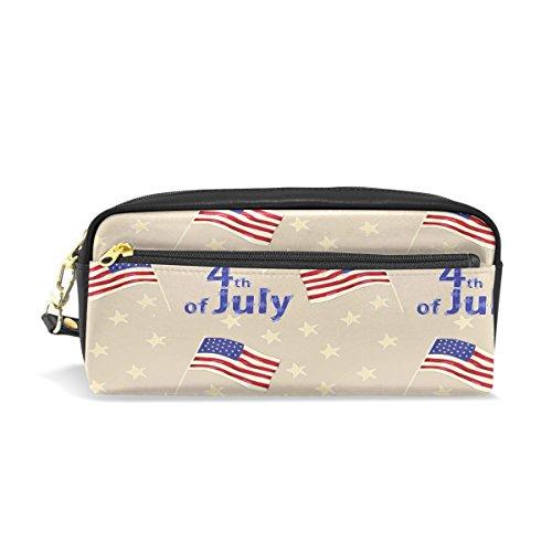 Flagge 4. Juli Federmäppchen Reißverschluss PU Leder Pen Bag Kosmetik Make-up Tasche, Schreibwaren Tasche Tasche großes Fassungsvermögen (4. Juli Waren)