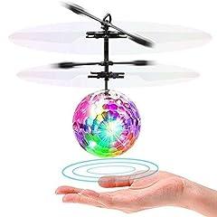Idea Regalo - LISOPO Palla Volante Elicottero, RC Flying Ball Infrarosso di Induzione con Telecomando Giocattolo del Bambini Trasparente Classico