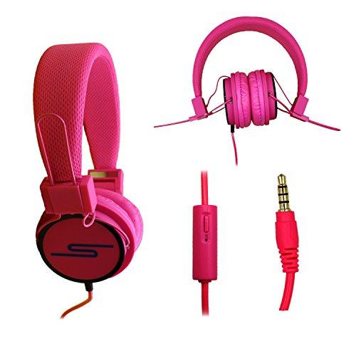 Casque audio stéréo rose Extra-Bass Clear Sound avec fonction micro + télécommande pour Carrefour Smart 5 by PH26