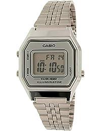 Casio Reloj Digital para Mujer de Automático con Correa en Acero Inoxidable Chapado en Platino LA680WA
