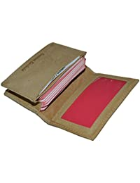 """Leatherboss Small Credit Card Holder Wallet With Expandable Pocket - Tan 4"""" X 2.3/4"""""""