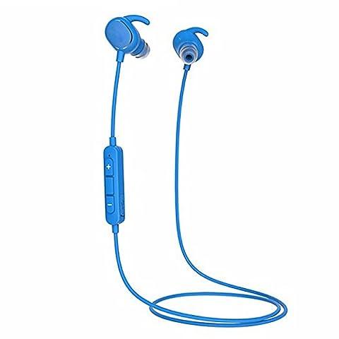 Bluetooth Sport Casque, ELEGIANT sans fil Bluetooth 4.1 Sport écouteurs IPX4 étanche in ear stéréo écouteurs, Oreillette casque antibruit/APT x/mikon Fon Mic pour Smartphone iOS Android du Bluetooth pour Bluetooth Smartphone Android IOS ipod ipad iPhone 6 6s 5s 5 4s 4, Samsung Galaxy s6, s7 bord A7 A5 A3 HTC LG Huawei etc(blue)